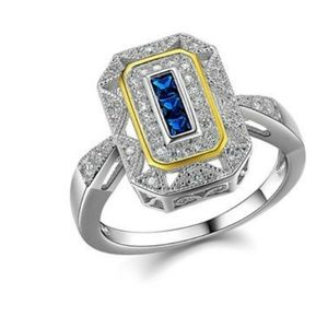 Art Deco 925 sterling silver sapphire ring